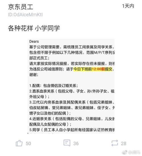 传京东要求员工梳理亲属关系 疑为摸清公司裙带